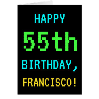 Fun Vintage/Retro Video Game Look 55th Birthday Card