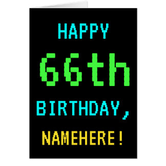 Fun Vintage/Retro Video Game Look 66th Birthday Card