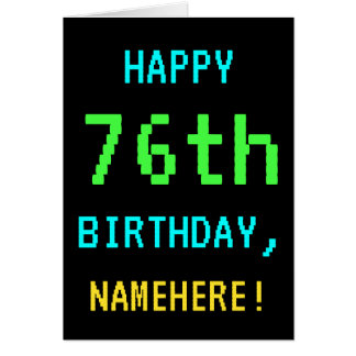 Fun Vintage/Retro Video Game Look 76th Birthday Card