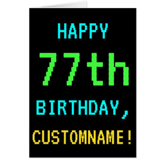 Fun Vintage/Retro Video Game Look 77th Birthday Card