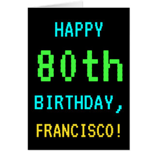 Fun Vintage/Retro Video Game Look 80th Birthday Card