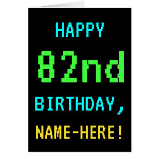 Fun Vintage/Retro Video Game Look 82nd Birthday Card