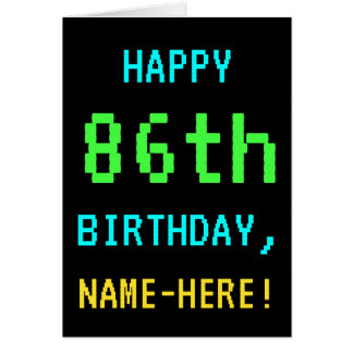 Fun Vintage/Retro Video Game Look 86th Birthday Card