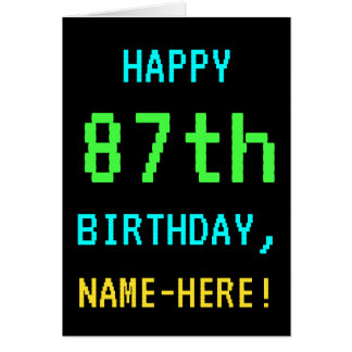 Fun Vintage/Retro Video Game Look 87th Birthday Card