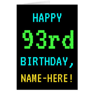 Fun Vintage/Retro Video Game Look 93rd Birthday Card