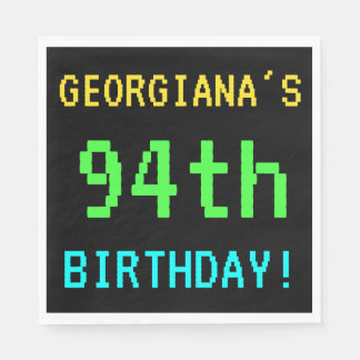 Fun Vintage/Retro Video Game Look 94th Birthday Paper Napkin