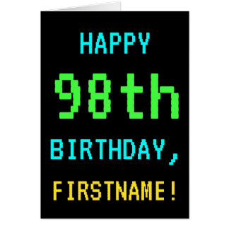 Fun Vintage/Retro Video Game Look 98th Birthday Card