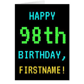 Fun Vintage/Retro Video Game Look 98th Birthday Card