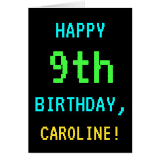 Fun Vintage/Retro Video Game Look 9th Birthday Card