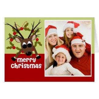 Fun Wacky Reindeer Christmas Photo Greeting Card