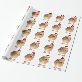 Fun Watercolor Duck in Christmas Red Hat & Tie Wrapping Paper