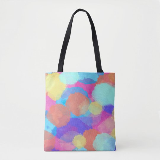 Fun watercolor patterned tote bag