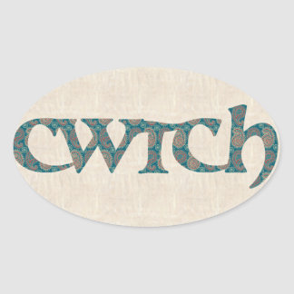 Fun Welsh Cwtch Stickers, Paisley Pattern Oval Sticker
