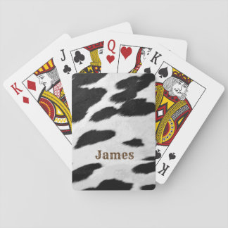 Fun Western Black and White Cow Hide Look and Name Playing Cards