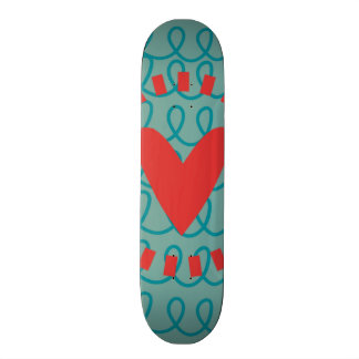 Fun Whimsical Doodle Heart and Swirls Skate Board Deck