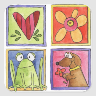 fun whimsical doodles square sticker