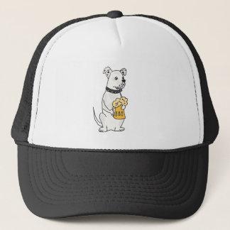 Fun White American Bulldog with Beer Trucker Hat
