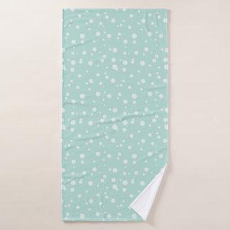 Fun white bubble graphic on mint green background bath towel