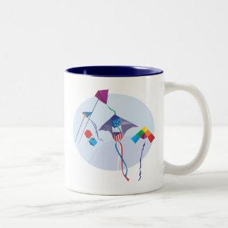 Fun with kites Two-Tone coffee mug