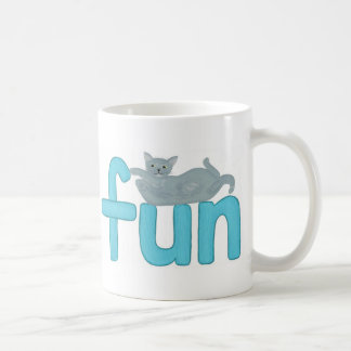 Fun word in aqua with playful gray cat, mugs