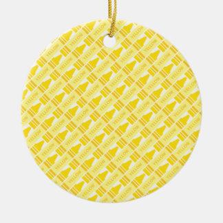Fun Yellow Crayon Pattern Ceramic Ornament