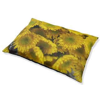 Fun Yellow Flowers Print Large Dog Bed