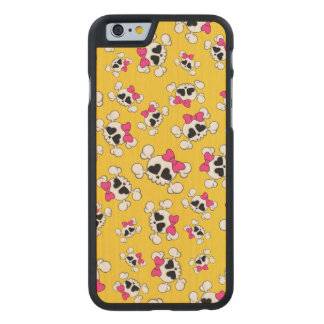 Fun yellow skulls and bows carved® maple iPhone 6 slim case