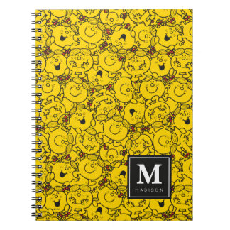 Fun Yellow Smiles Pattern | Add Your Name Spiral Note Books