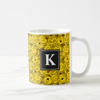 Fun Yellow Smiles Pattern | Monogram Coffee Mug