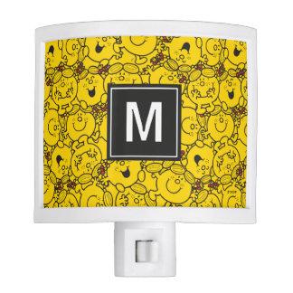Fun Yellow Smiles Pattern | Monogram Night Lites