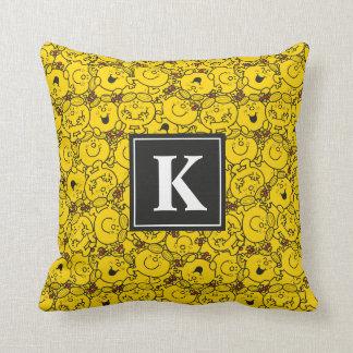 Fun Yellow Smiles Pattern | Monogram Throw Pillow