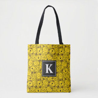 Fun Yellow Smiles Pattern | Monogram Tote Bag