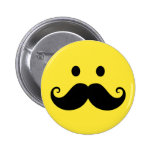 Fun yellow smiley face with handlebar moustache 2 inch round button