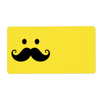 Fun yellow smiley face with handlebar mustache shipping label