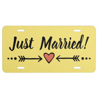 Fun Yellow Wedding Heart Honeymoon - Just Married! License Plate