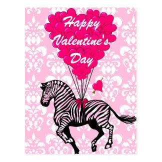 Fun zebra childrens  Valentines Postcard