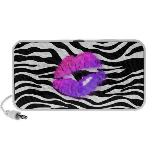 Fun Zebra Doodle Speaker Cover Purple Lips