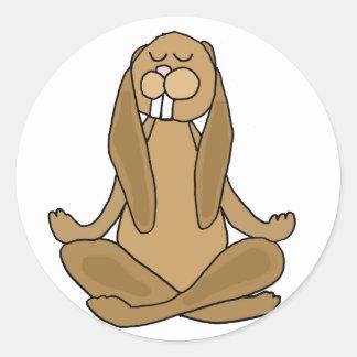 Fun Zen Bunny Rabbit in Yoga Pose Classic Round Sticker