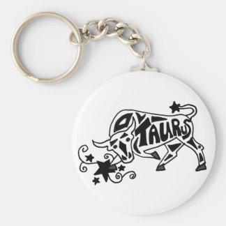 Fun Zodiac Taurus Bull Astrology Sign Art Basic Round Button Keychain