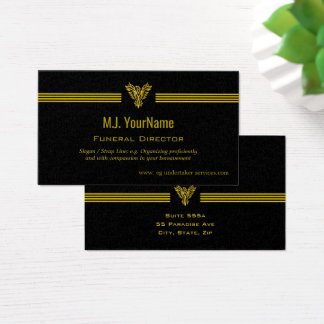 Funeral Director gold stripes and rising phoenix Business Card