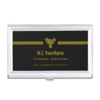 Funeral Director gold stripes and rising phoenix Business Card Holder
