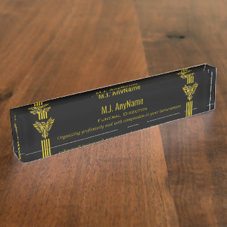 Funeral Director gold stripes and rising phoenix Nameplate