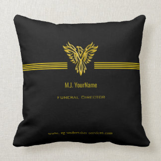 Funeral Director gold stripes and rising phoenix Throw Pillow