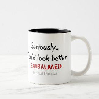 Funeral Director/Mortician Funny Hearse Design Two-Tone Coffee Mug