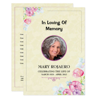 Funeral order of service Program card