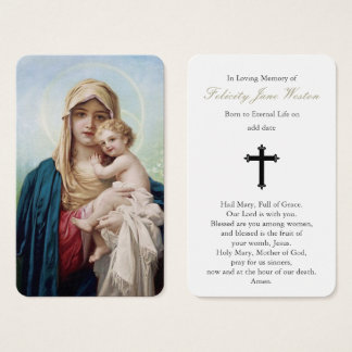Funeral Prayer Card   Mother Mary & Baby Jesus