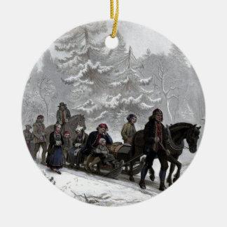 Funeral Procession Round Ceramic Ornament