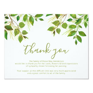 Funeral Thank You Note | Behreavement Card