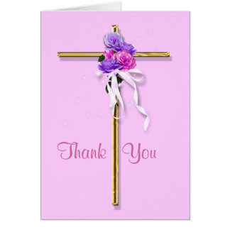 """Funeral """"Thank you"""" pink floral religious Card"""