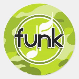 Funk; bright green camo, camouflage classic round sticker